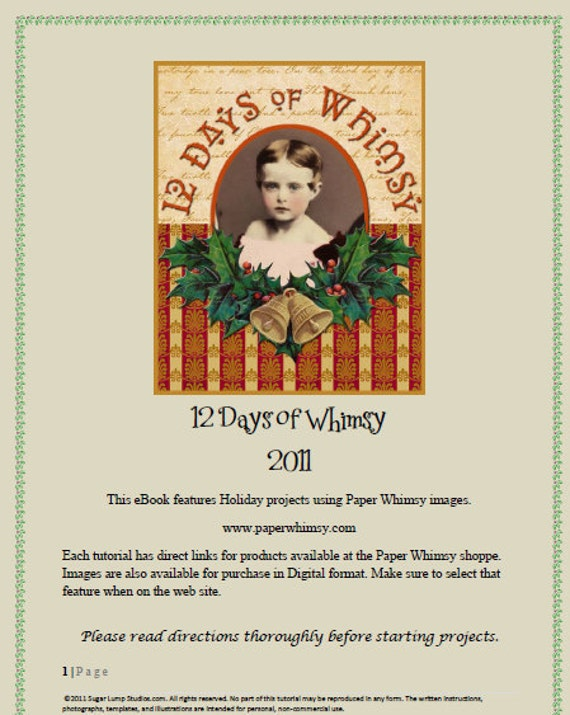 12 Days of Whimsy  Ebook/Tutorial PDF Format