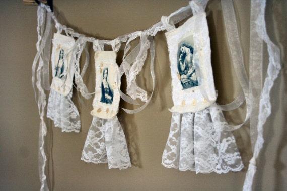 Genteel Ladies HANDMADE Shabby Chic Fabric Collage Festoon OOAK