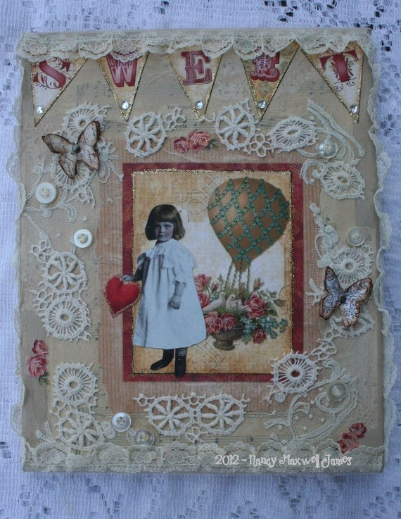 SALE Sweet Altered Canvas Collage 8 x 10 OOAK