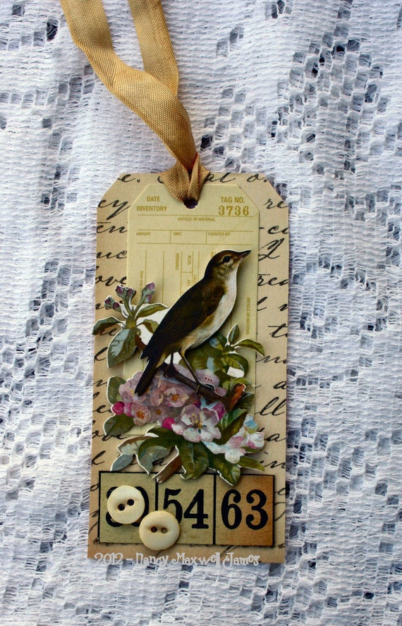 Sweet Songbird HANDMADE Altered Tag OOAK