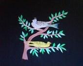Painted Scherenschnitt of Two Birds