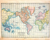 1912 Antique Colored Map of the World on Mercator's Projection