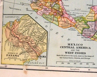 Antique Map - 1898 - The Greater Antilles, Mexico, Central America and the West Indies