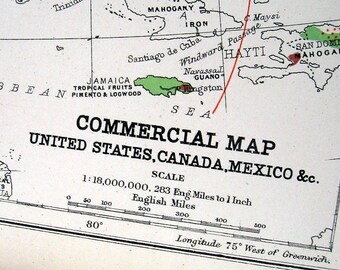 1889 Antique Map -  Commercial Map of the United States, Canada, Mexico - 13 x 11