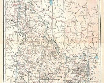 1925 State Map of Idaho Colored Vintage Map