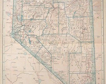 1925 State Map of Nevada Colored Vintage Map
