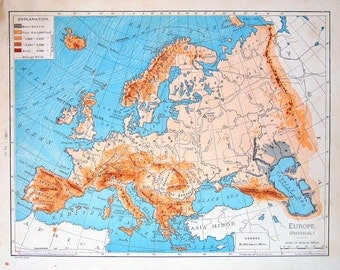 Old Antique Map 1901 Physical Map of Europe from World Atlas