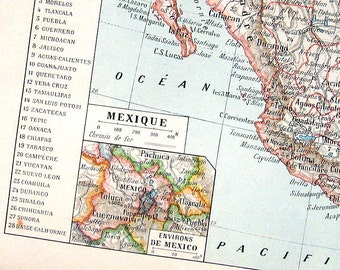 Mexico Map Antique French Dictionary Book Plate 1908 Larousse