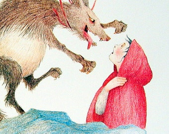 1987 Red Riding Hood with Wolf Vintage Fairy Tale Book Plate