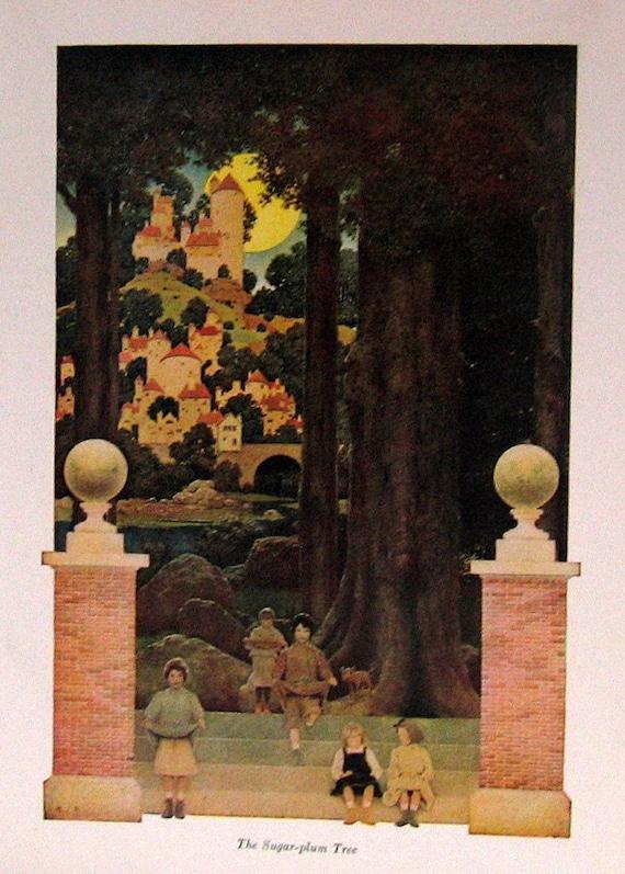 1904 Antique Maxfield Parrish Children's Book Illustration The Sugar Plum Tree