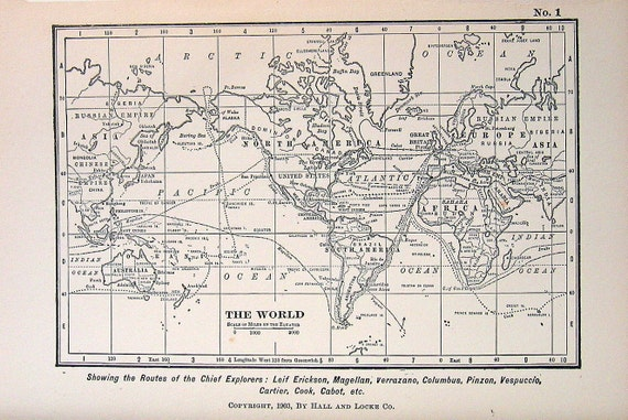 7 Pages of Black and White Maps 1902 Antique Children's Story Book Plates