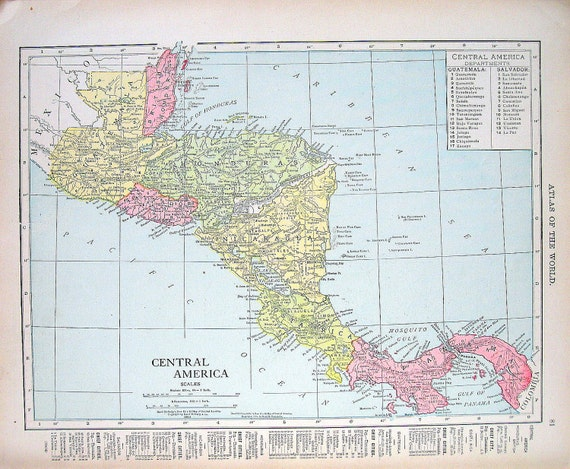 1914 Vintage Map 2 Sided Print Central America, Isthmus of Panama