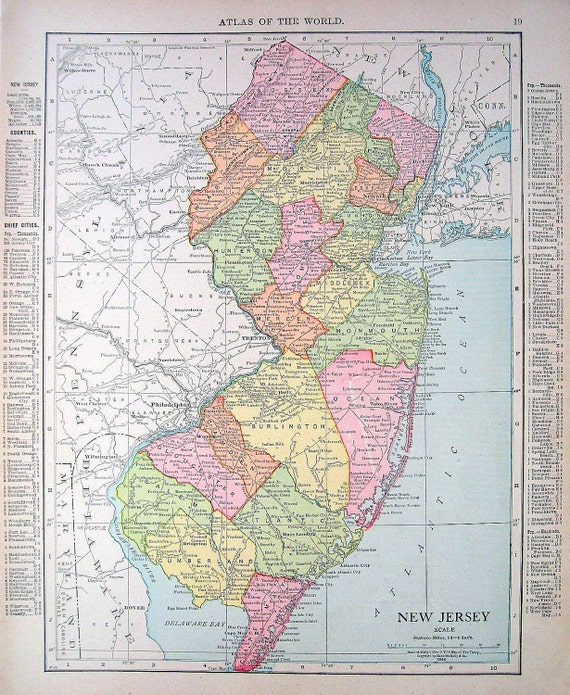 Old Map Of New Jersey Pennsylvania USA State By