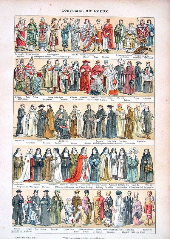 Religious Costumes Antique French Dictionary Engraving 1908 Larousse
