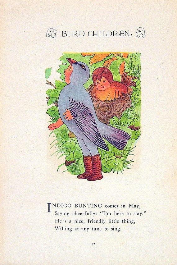 Indigo Bunting, Eagle 1912 Antique Bird Children Book Plate 2 Sided