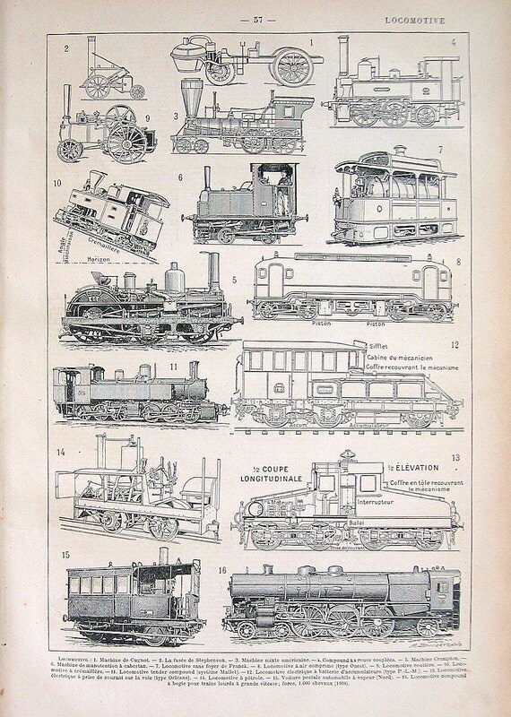 Trains Locomotive Print: Antique French Dictionary Book Plate 1908 Larousse