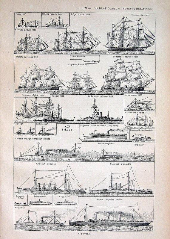 1908 Navy Ships Print:  French Dictionary Paper Ephemera Antique Larousse