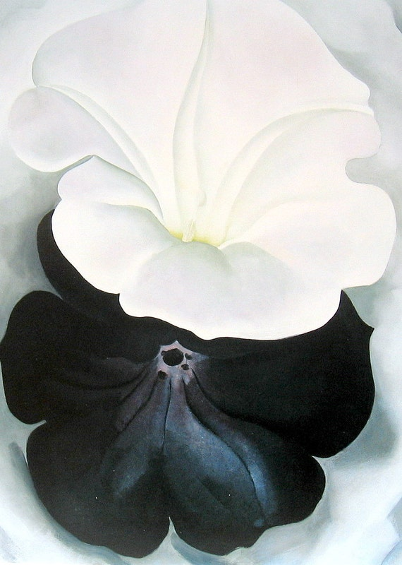 Black Petunia and White Morning Glory II Georgia O'Keeffe Vintage 1987 Book Plate