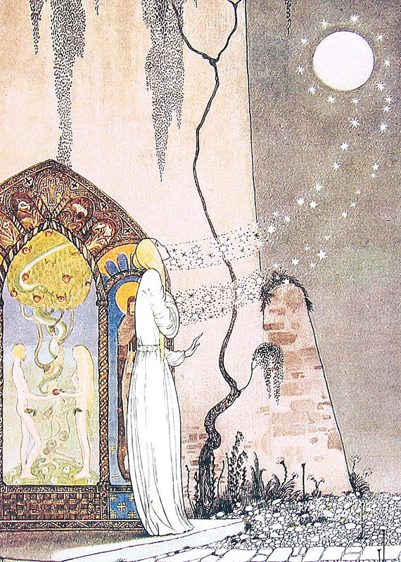 1975 Kay Nielsen Fairy Tale Illustration The Lassie and her Godmother