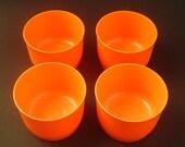 Orange Mod 4 piece set of Vintage Tupperware Cups