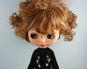 Blythe doll handmade knitted black cardigan sweater BL182