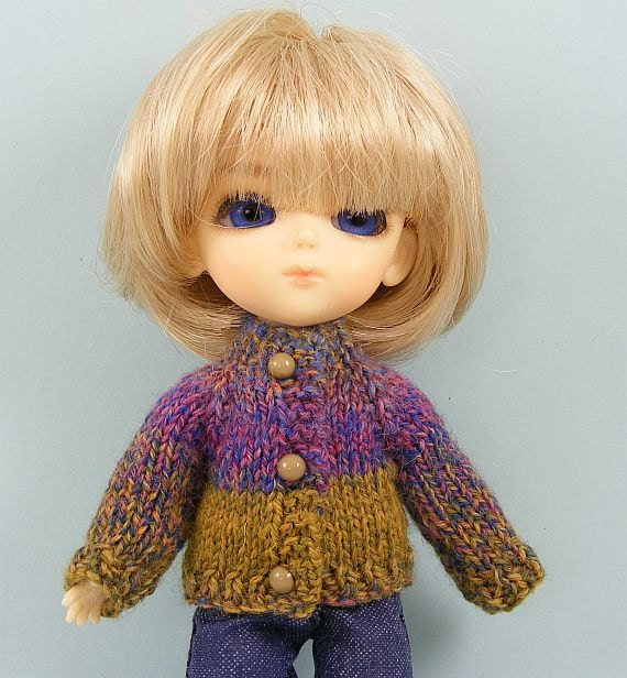 Doll sweater cardigan for Lati Yellow or Puki Fee dolls multi color handmade knitted LY161
