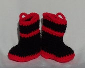 Crocheted Baby Booties Firefighter choose a size