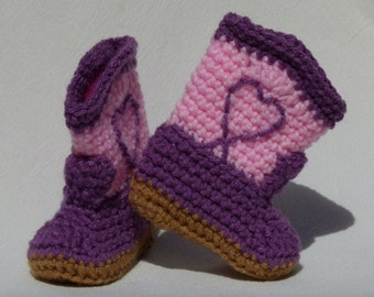 Crocheted Baby Booties Baby Cowgirl Boots Amethyst Purple Pink choose a size