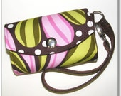 Cell Phone Wallet / Camera Case / Pink and Green Lollipop / Fits iPhones - Droid A855 - Blackberry and More
