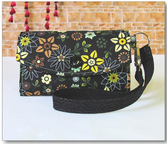 Cell Phone Wallet Wristlet / Camera Case / Black Green & Yellow Flowers / Fits iPhone 3 and 4 - Droid 1 and 2 - Blackberry and More