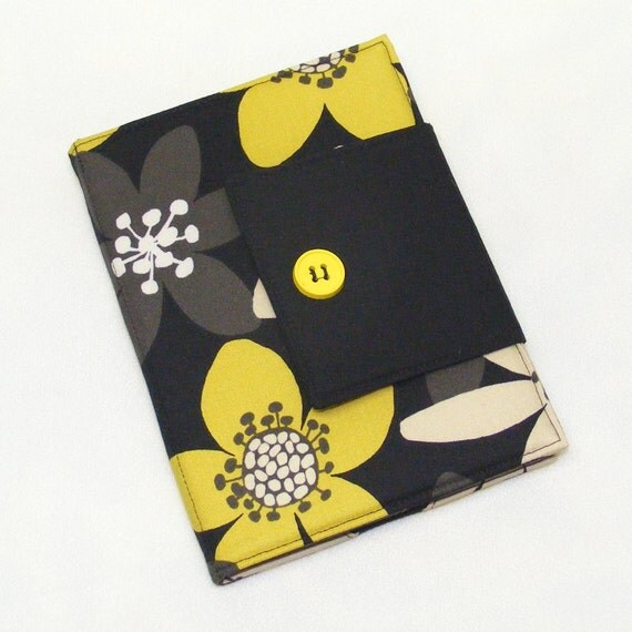 Kindle Cover, Nook Cover, Kobo Cover, Book Style, eReader Cover Case - CUSTOM SIZE - Yellow Blooms with Gray and Black