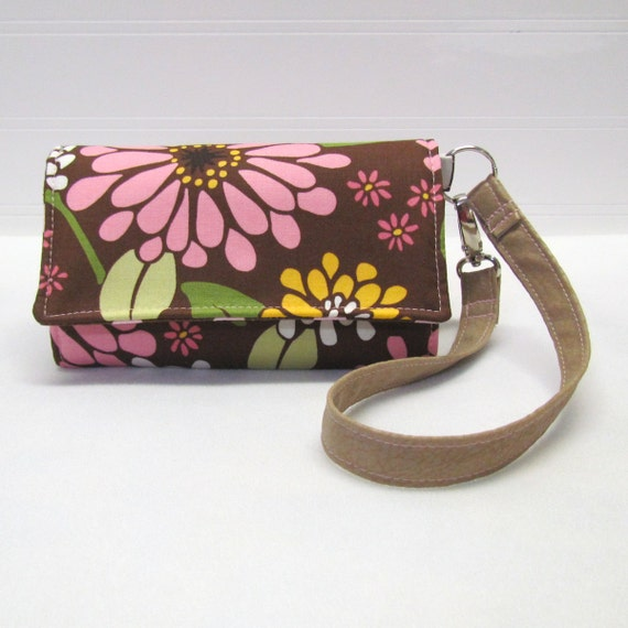 Cell Phone Wallet, iPhone Wallet, Smart Phone Wallet, Droid Wallet, Wristlet, Case - Multi Pink Floral on Brown