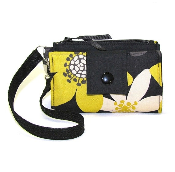 Cell Phone Wallet, iPhone Wallet, Smart Phone Wallet, Droid Wallet, Wristlet, Case - Yellow and Gray Blooms on Black