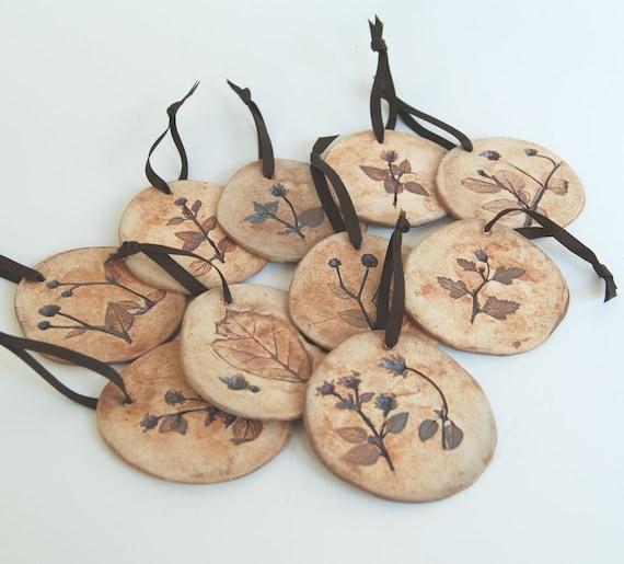 Set of 9 Botanical Porcelain Ornaments
