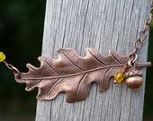 Copper and Lemon Oak Leaf Necklace