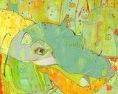Ep-po Hippo Canvas Print by Jennifer Mercede  14x14