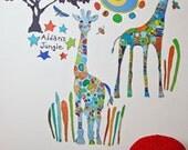 Blue Giraffe Wall Peel & Place Stickers by Jennifer Mercede