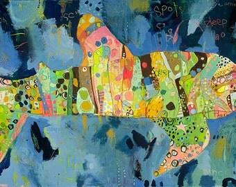 Camouflage Whale Shark Canvas Print by Jennifer Mercede 24X30