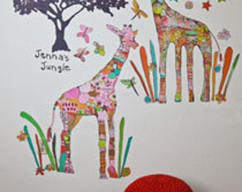 Pink Giraffe Peel & Place Wall Stickers by Jennifer Mercede