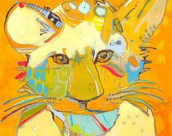 Li'l T Tiger Cub Canvas Print by Jennifer Mercede 14X14