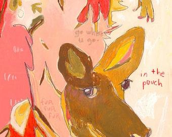 Hop Baby Kangaroo Canvas Print by Jennifer Mercede  14X14