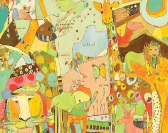 Together - Animal Kingdom Canvas Print by Jennifer Mercede 30X40