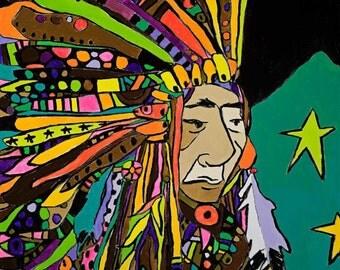 Neon Native Canvas Print by Jennifer Mercede 24X24