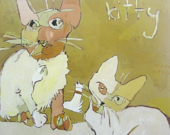 Kitties, One, Two ORIGINAL painting by Jennifer Mercede  30X30   :  FREE shipping