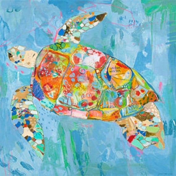 Turtsee Turtle Canvas Print by Jennifer Mercede 24X24