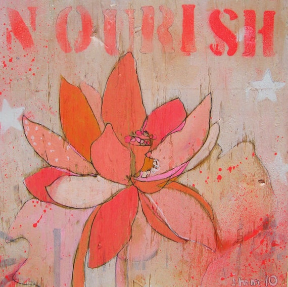Lotus Nourish Canvas Print by Jennifer Mercede 24X24