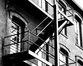 Geometric, Industrial, Architectural Picture,  Landscape Photograph, Black and White Photo, Fire Escape, 8x10 inch Print -Restoration