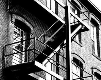 Geometric, Industrial, Architectural Picture,  Landscape Photograph, Black and White Photo, Fire Escape, 8x10 inch Print -Restoration