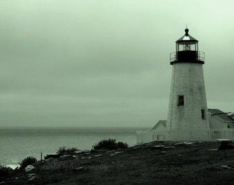 Nautical Photography, Monochrome, Lighthouse Picture, Ocean, Nautical, Beach, Maine, Pemaquid Point, Landscape, 8x10 Inch Print