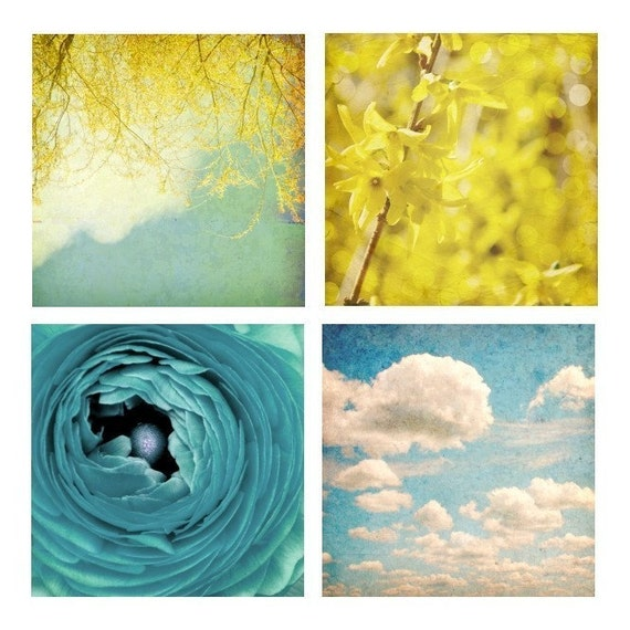 Nature Photographs, Still Life, Landscape, Shabby Chic Home Decor, Blue, Yellow, White, Gift Set of Four 8x8 inch Prints -A Beautiful Day
